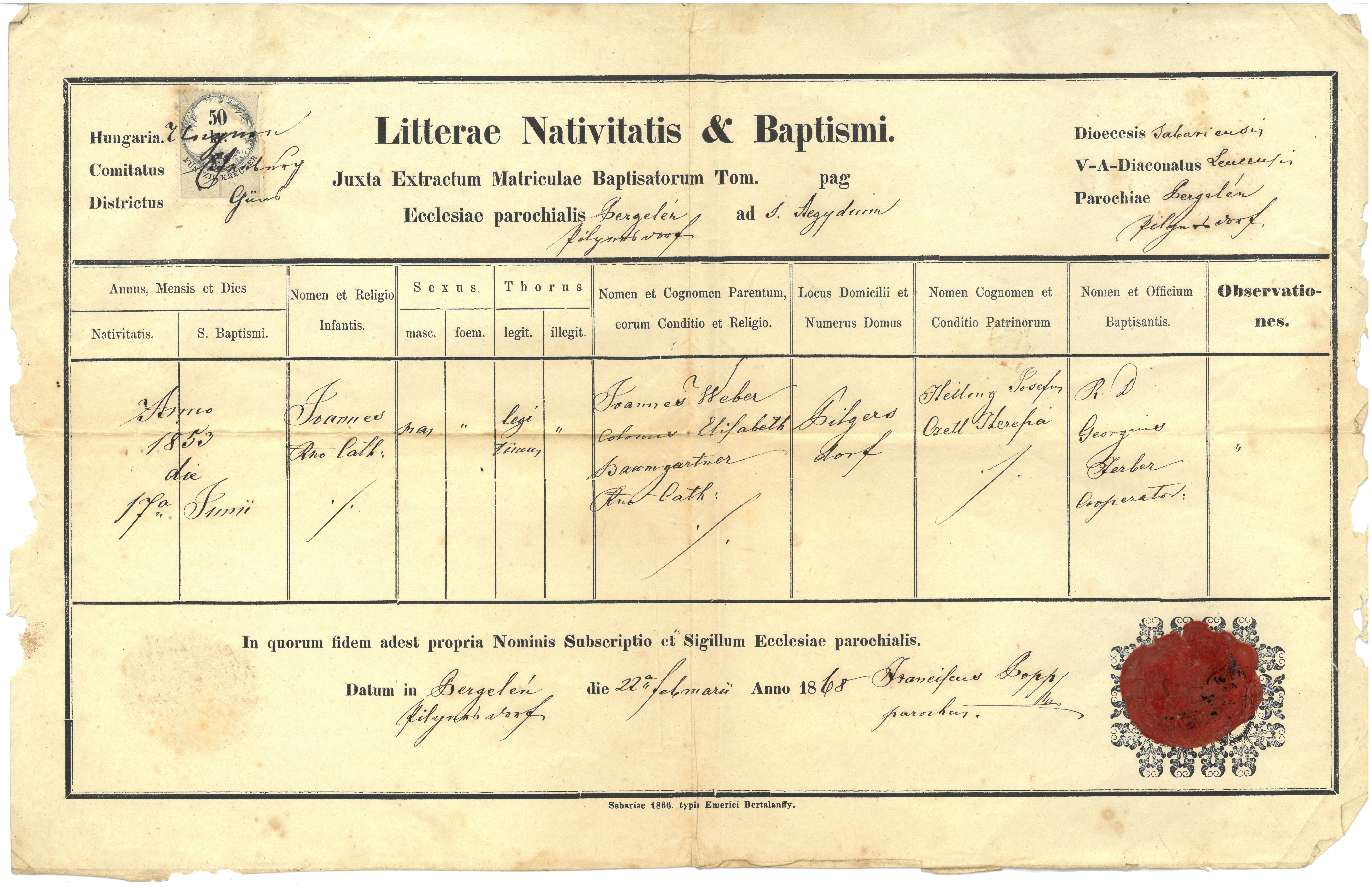 Johann Weber Baptismal Certificate H Midwest H Net