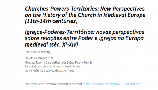 Conference: Churches-Powers-Territories: New Perspectives on the History of the Church in Medieval Europe (11th-14th centuries), 6th-7th December 2018